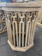 White Wash Carved Side Table