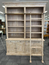 Hamptons 2 Bay Library Bookcase with Ladder Rustic Grey Wash
