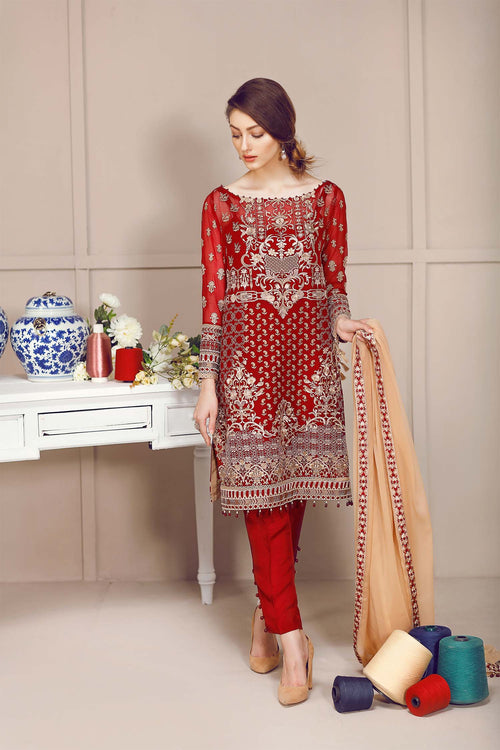 Baroque Fuchsia Suit- Cherry Scarlet | My Desi Shop