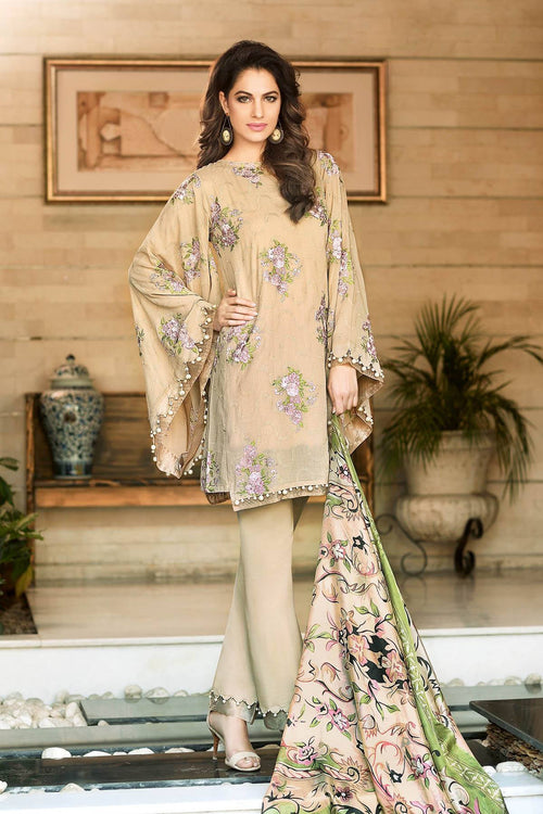Gul Ahmed Embroidered Trencia Satin Silk Dress, Gul Ahmed | My Desi Shop