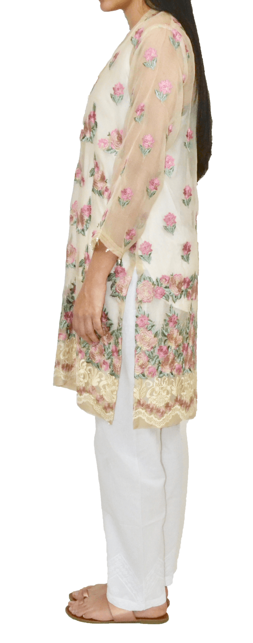 Sheer Champagne Agha Noor Kurta with Heavy Embroidery