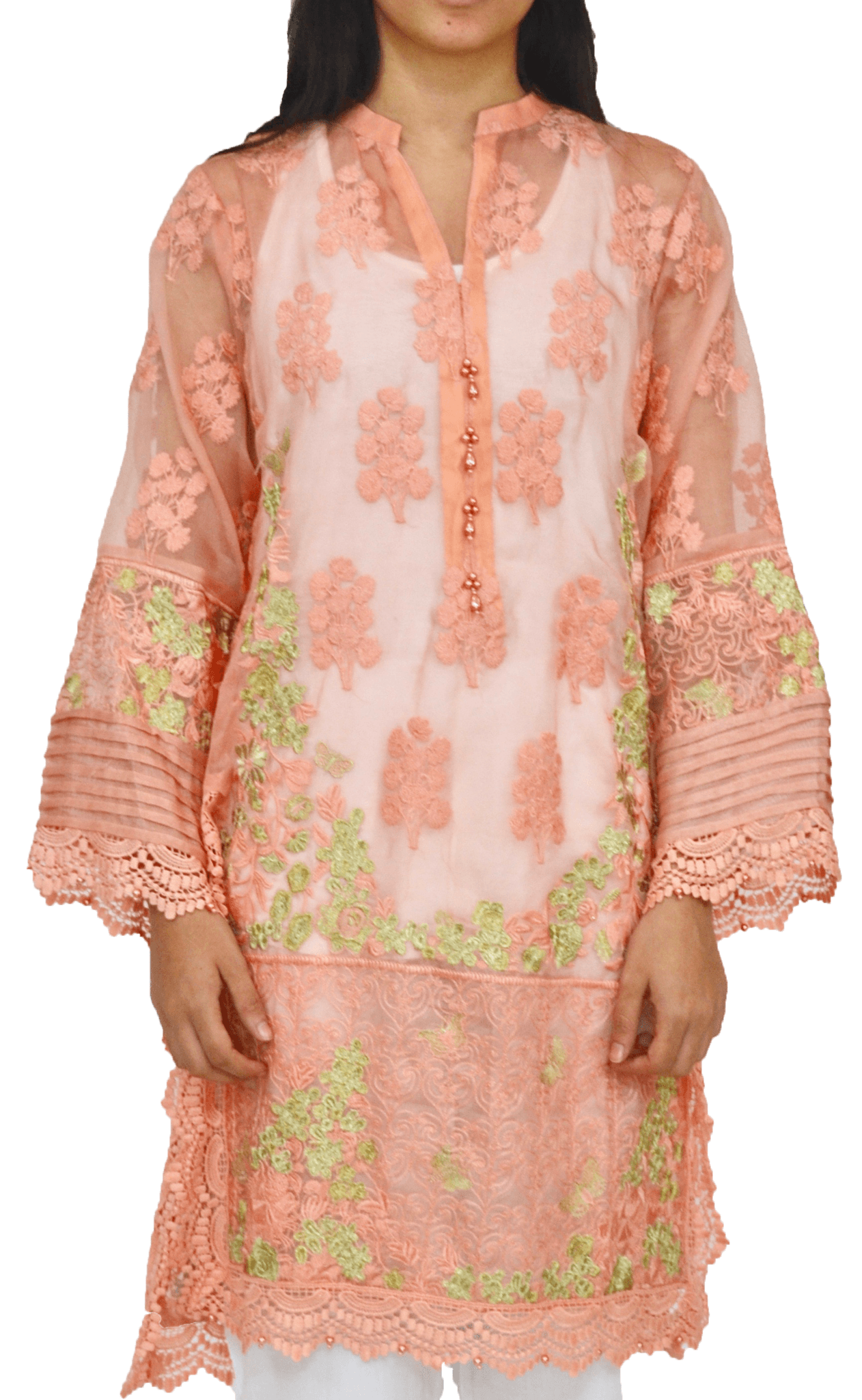 Sheer Salmon Floral Agha Noor Kurta with Heavy Embroidery