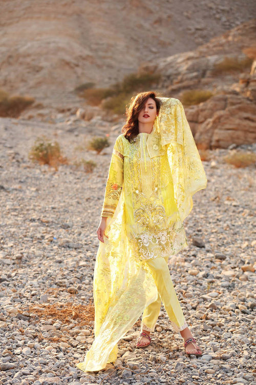 Gul Ahmed Yellow Embroidered Chiffon Dress, Gul Ahmed | My Desi Shop