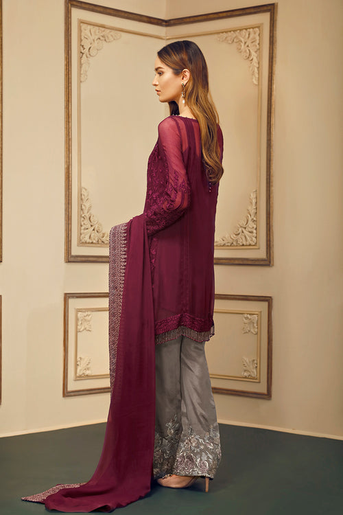 Baroque Chantelle Suit- Vin Rouge | My Desi Shop