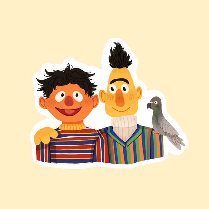 BURT & ERNIE STICKER by SKYLAR VERDUZCO