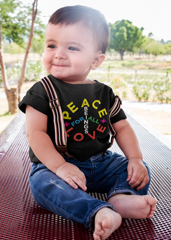 Peace + Love Sign Baby Onesie