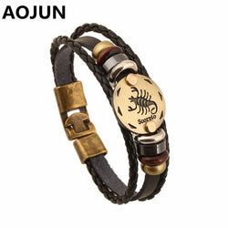2017 Hot 12 Constellation Leather Bracelets