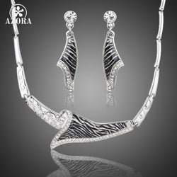 Austrian Crystal Zebra Veins Drop Earrings and Pendant Necklace