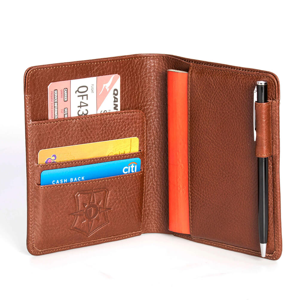 76fd21f20910 Brown slim design passport fold premium leather wallet with RFID blocking  theft protection safety ...