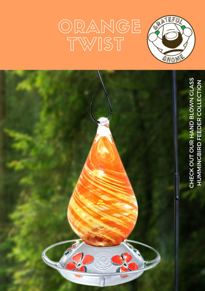 Orange Twist Blown Glass Hummingbird Feeder