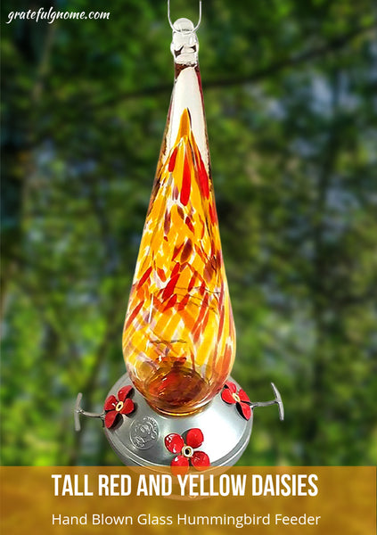 Tall Red and Yellow Daisies Hand Blown Glass Hummingbird Feeder