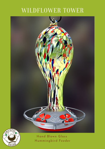 wildflower tower hand blown glass hummingbird feeder