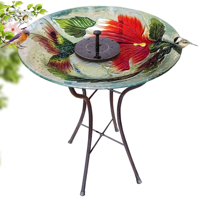 Red Ruby Flower Bird Bath with Stand and Solar Fountain