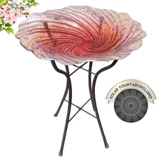 Load image into Gallery viewer, Hand Painted Glass Bird Bath - Radiant Reflection Bird Bath with Stand and Solar Fountain