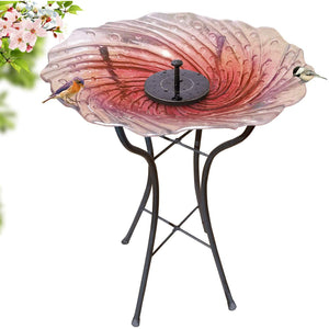 Hand Painted Glass Bird Bath - Radiant Reflection Bird Bath with Stand and Solar Fountain