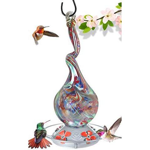 Gnarly Glass Neck Gourd Hummingbird Feeder - 16 Fluid Ounces Lawn & Patio Grateful Gnome