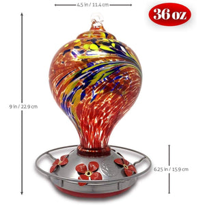 Hand Blown Glass Hummingbird Feeder - Large Egg Style - 36 Fluid Ounces - Red Lawn & Patio Grateful Gnome