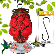 Load image into Gallery viewer, Moroccan Lantern Hummingbird Feeder - Hand Blown Glass - 28 Fluid Ounces Hummingbird Feeders Grateful Gnome