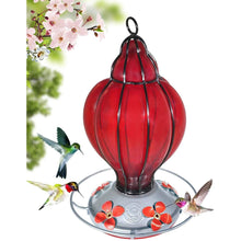 Load image into Gallery viewer, Red Lantern - Hummingbird Feeder - Hand Blown Glass - 28 Fluid Ounces Hummingbird Feeders Grateful Gnome