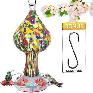 Red Speckled Mushroom - Hand Blow Glass Hummingbird Feeders - 26 Fluid Ounces Lawn & Patio Grateful Gnome