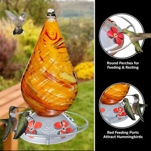 Red Twist - Hummingbird Feeder - Hand Blown Glass - Free Accessory Pack Hummingbird Feeders Grateful Gnome