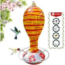Load image into Gallery viewer, Yellow Tower with Red Spiral Hummingbird Feeder - 30 Fluid Ounces Lawn & Patio Grateful Gnome