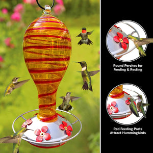 Yellow Tower with Red Spiral Hummingbird Feeder - 30 Fluid Ounces Lawn & Patio Grateful Gnome