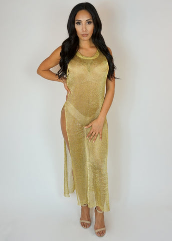 Gold Sheer Bathing Suit Cover Up Maxi Dress With Dual Side Slits