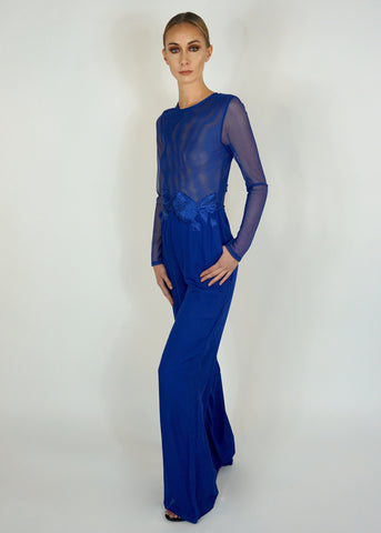 Blue Jumpsuit with Sheer Top and Floral Applique