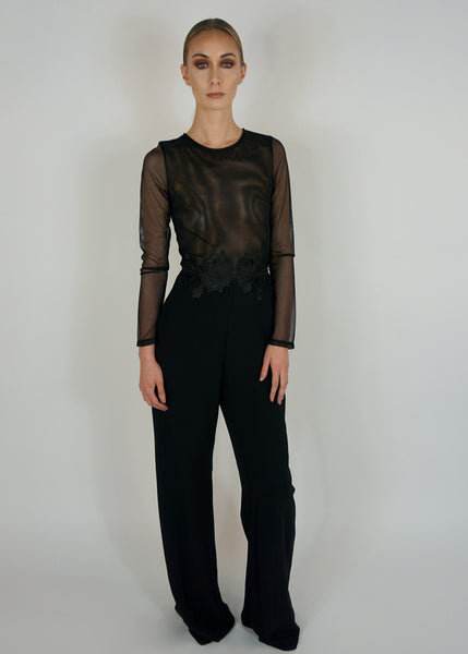 Black Jumpsuit with Sheer Top and Floral Applique