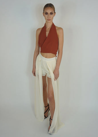 Beige Shorts with Long Sheer Skirt Attached
