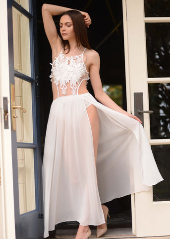 White Lace Bodysuit with Sheer Skirt Attached