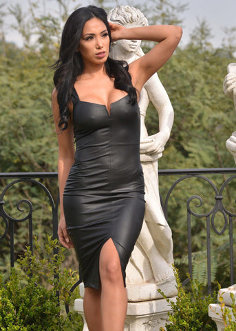 Black Faux Leather Dress with Center Slit