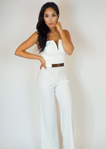 White Strapless V-Wire Wide Leg Jumpsuit