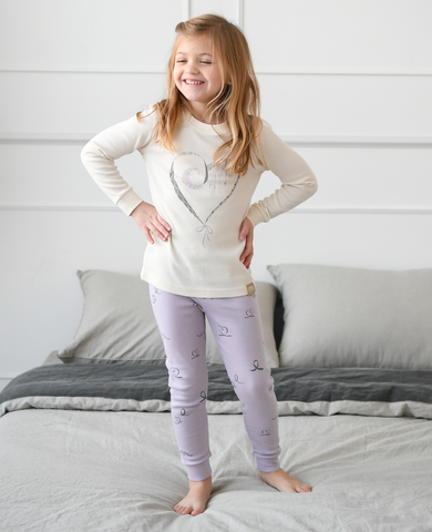 Ribbon Heart Girls Organic Pajamas