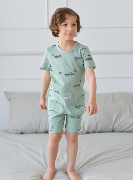 Vintage Car Boys Organic Short Pajamas