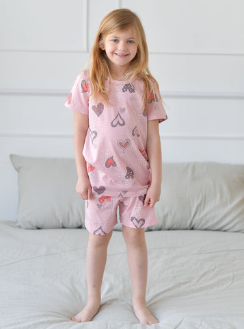 Cutie Hearts Girls Organic Short Pajamas