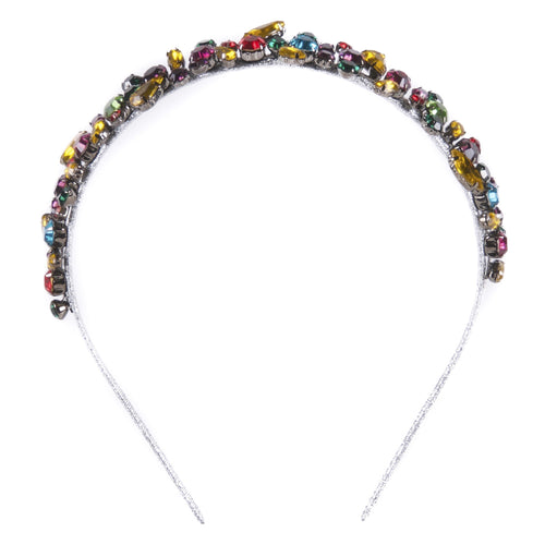 Multicolored glass rhinestone headband