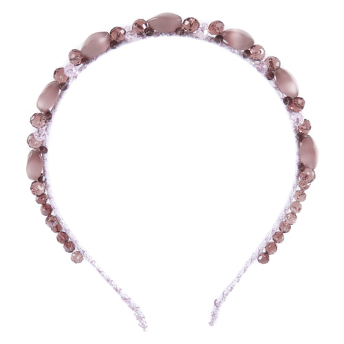 Lilac brown crystal beaded headband
