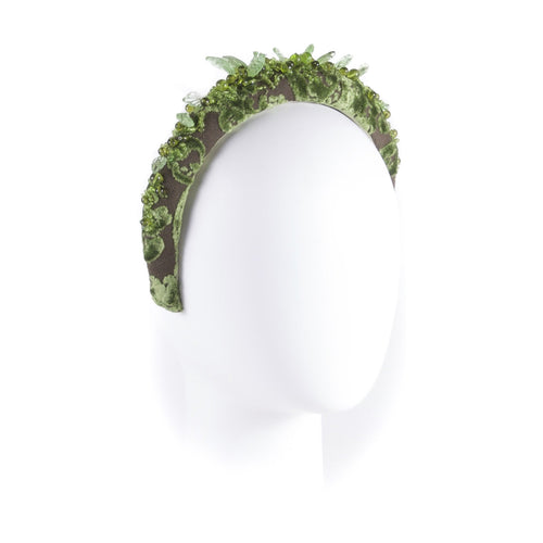 Green beads embellished headband