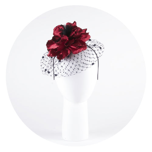 Red flower fascinator