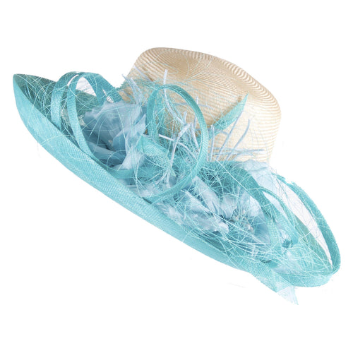 Turquoise and white Kentucky Derby hat