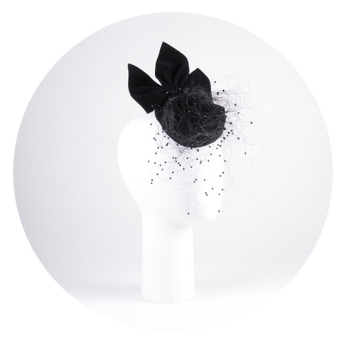 Black bow cocktail hat