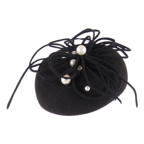Black cocktail hat with pearls