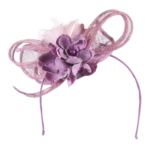 Lilac cocktail hat with silk flowers