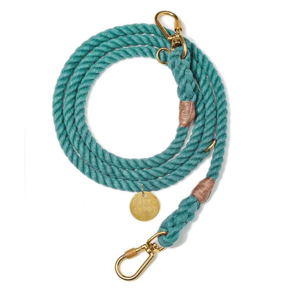 Found My Animal Teal Upcycled Adjustable Rope Dog Leash | Smack Bang