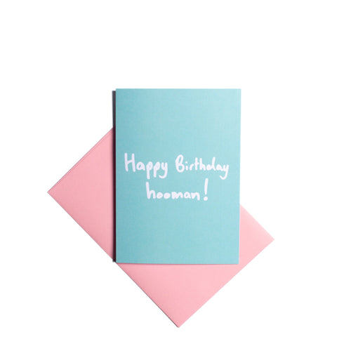 Pooch Design Greeting Card  |  Happy Birthday Hooman Blue