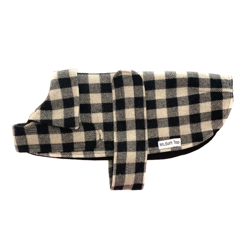 Mr Soft Top Black and White Checkered Dog Coat | Smack Bang