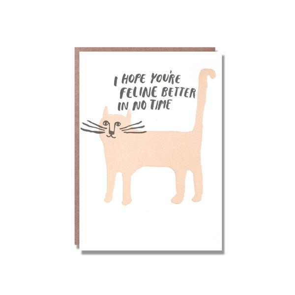 Egg Press Greeting Card I Hope You're Feline Better In No Time Get Well Soon Cat SMACK BANG