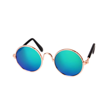 Round Blue/Green Mirrored Cat Sunglasses | Smack Bang